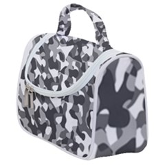 Grey And White Camouflage Pattern Satchel Handbag