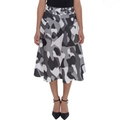 Grey And White Camouflage Pattern Perfect Length Midi Skirt