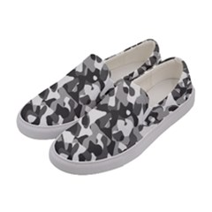 Grey And White Camouflage Pattern Women s Canvas Slip Ons by SpinnyChairDesigns