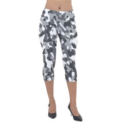 Grey And White Camouflage Pattern Lightweight Velour Capri Leggings
