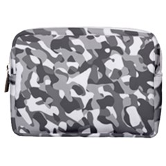 Grey And White Camouflage Pattern Make Up Pouch (medium)