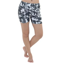 Grey And White Camouflage Pattern Lightweight Velour Yoga Shorts by SpinnyChairDesigns