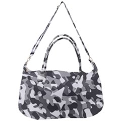 Grey And White Camouflage Pattern Removal Strap Handbag