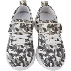 Grey And White Camouflage Pattern Kids  Velcro Strap Shoes