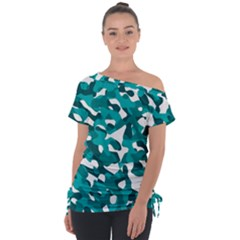 Teal And White Camouflage Pattern Tie-up Tee