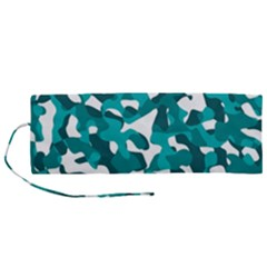 Teal And White Camouflage Pattern Roll Up Canvas Pencil Holder (m) by SpinnyChairDesigns