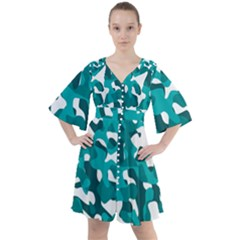 Teal And White Camouflage Pattern Boho Button Up Dress by SpinnyChairDesigns