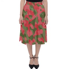 Pink And Green Camouflage Pattern Classic Midi Skirt by SpinnyChairDesigns