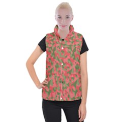 Pink And Green Camouflage Pattern Women s Button Up Vest