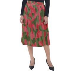 Pink And Green Camouflage Pattern Classic Velour Midi Skirt