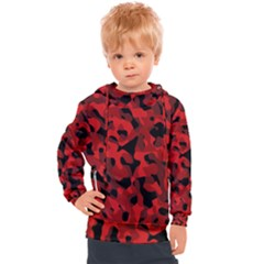 Red And Black Camouflage Pattern Kids  Hooded Pullover