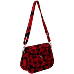 Red And Black Camouflage Pattern Saddle Handbag by SpinnyChairDesigns