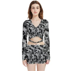 Grey And Black Camouflage Pattern Velvet Wrap Crop Top