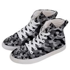 Grey And Black Camouflage Pattern Women s Hi-top Skate Sneakers by SpinnyChairDesigns
