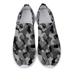 Grey And Black Camouflage Pattern Women s Slip On Sneakers by SpinnyChairDesigns
