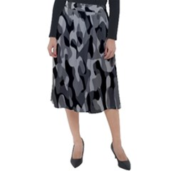 Grey And Black Camouflage Pattern Classic Velour Midi Skirt