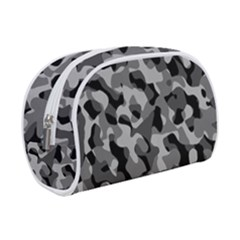 Grey And Black Camouflage Pattern Makeup Case (small) by SpinnyChairDesigns