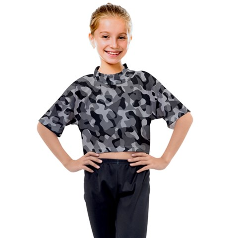 Grey And Black Camouflage Pattern Kids Mock Neck Tee by SpinnyChairDesigns