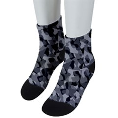 Grey And Black Camouflage Pattern Men s Low Cut Socks by SpinnyChairDesigns