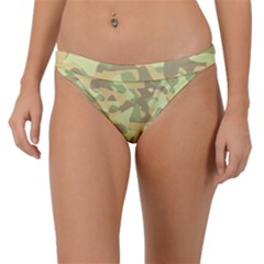 Light Green Brown Yellow Camouflage Pattern Band Bikini Bottom by SpinnyChairDesigns