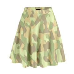 Light Green Brown Yellow Camouflage Pattern High Waist Skirt by SpinnyChairDesigns
