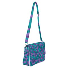 Purple And Teal Camouflage Pattern Shoulder Bag With Back Zipper