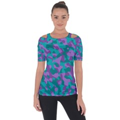 Purple And Teal Camouflage Pattern Shoulder Cut Out Short Sleeve Top by SpinnyChairDesigns