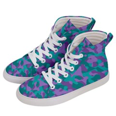 Purple And Teal Camouflage Pattern Men s Hi-top Skate Sneakers by SpinnyChairDesigns