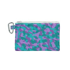 Purple And Teal Camouflage Pattern Canvas Cosmetic Bag (small)
