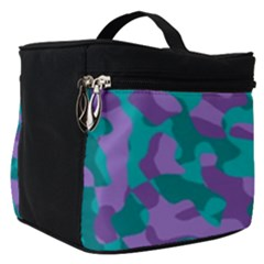 Purple And Teal Camouflage Pattern Make Up Travel Bag (small) by SpinnyChairDesigns