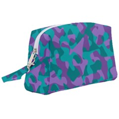 Purple And Teal Camouflage Pattern Wristlet Pouch Bag (large)