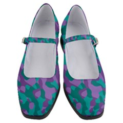 Purple And Teal Camouflage Pattern Women s Mary Jane Shoes