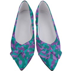 Purple And Teal Camouflage Pattern Women s Bow Heels