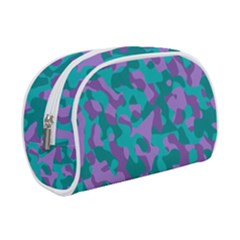 Purple And Teal Camouflage Pattern Makeup Case (small) by SpinnyChairDesigns