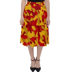 Red And Yellow Camouflage Pattern Classic Midi Skirt by SpinnyChairDesigns