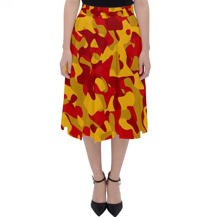 Red and Yellow Camouflage Pattern Classic Midi Skirt