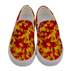 Red And Yellow Camouflage Pattern Women s Canvas Slip Ons