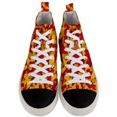 Red And Yellow Camouflage Pattern Men s Mid-top Canvas Sneakers