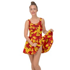 Red And Yellow Camouflage Pattern Inside Out Casual Dress