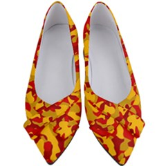 Red And Yellow Camouflage Pattern Women s Bow Heels