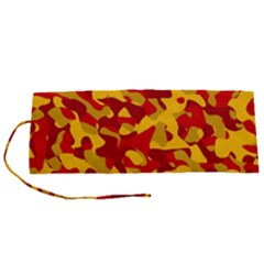 Red And Yellow Camouflage Pattern Roll Up Canvas Pencil Holder (s)