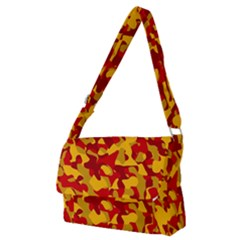 Red And Yellow Camouflage Pattern Full Print Messenger Bag (m)