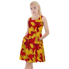 Red And Yellow Camouflage Pattern Knee Length Skater Dress With Pockets