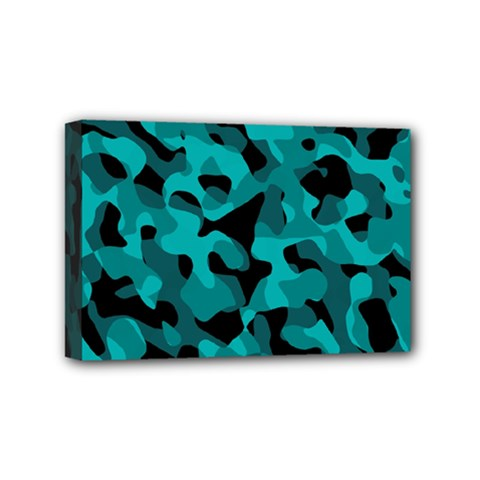 Black And Teal Camouflage Pattern Mini Canvas 6  X 4  (stretched)