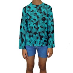 Black And Teal Camouflage Pattern Kids  Long Sleeve Swimwear by SpinnyChairDesigns