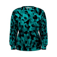 Black And Teal Camouflage Pattern Women s Sweatshirt