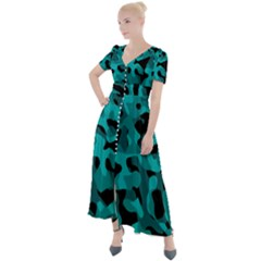 Black And Teal Camouflage Pattern Button Up Short Sleeve Maxi Dress by SpinnyChairDesigns