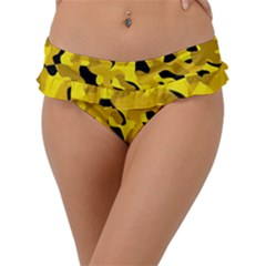 Black And Yellow Camouflage Pattern Frill Bikini Bottom by SpinnyChairDesigns