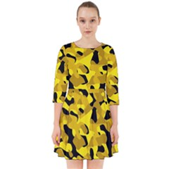 Black And Yellow Camouflage Pattern Smock Dress