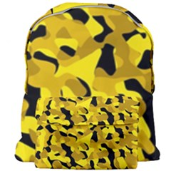 Black And Yellow Camouflage Pattern Giant Full Print Backpack by SpinnyChairDesigns